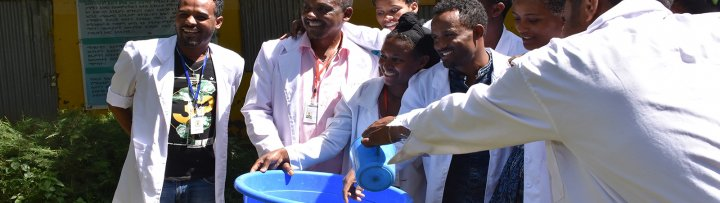 Health workers in Ethiopia pose for WASH photo