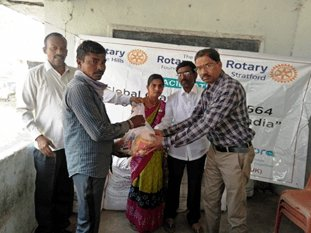 Distribution of dry ration nutritional support) to people affected by leprosy at Kushnapally, Telangana State, India. credit: Lepra
