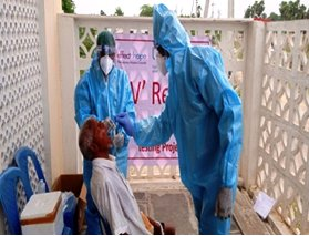Sample collection for COVID-19 testing; for people affected by leprosy. credit: Lepra